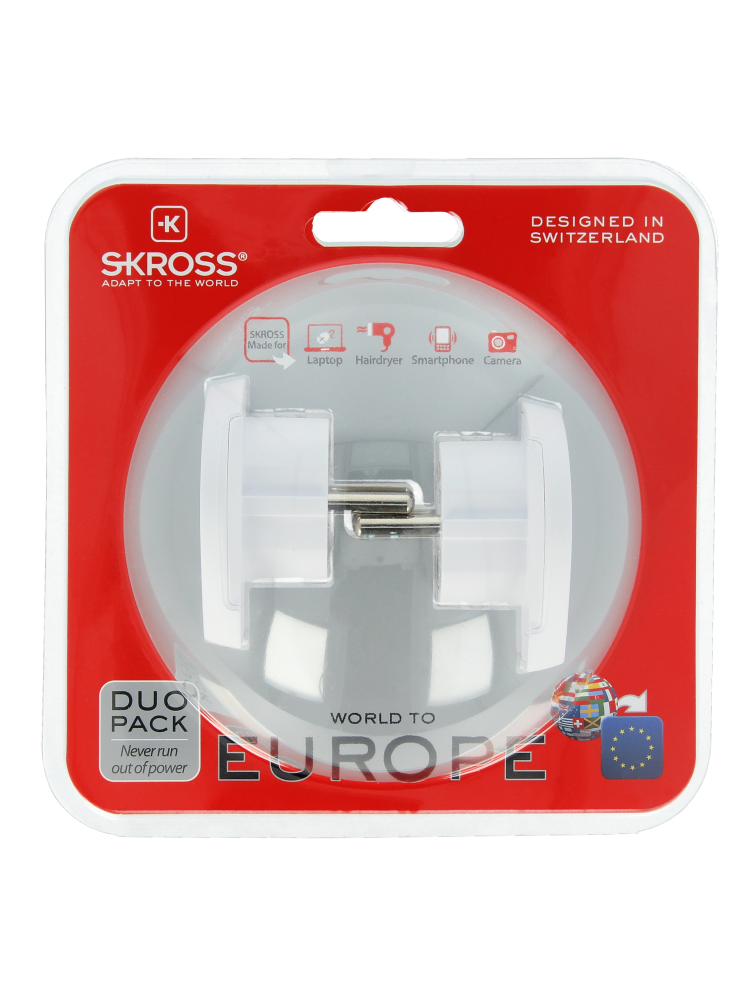 World to Europe Länderreiseadapter, Duo Pack