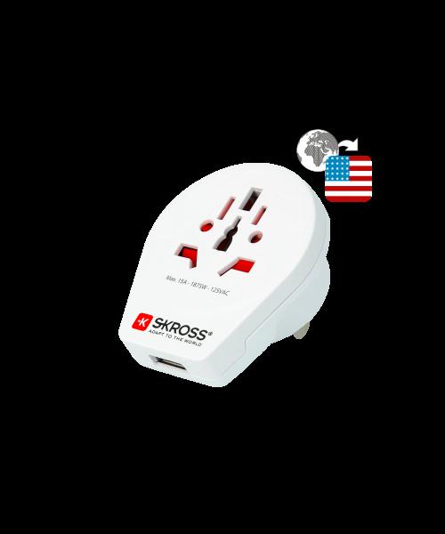 World to USA USB, Länderreiseadapter, 3-Pol